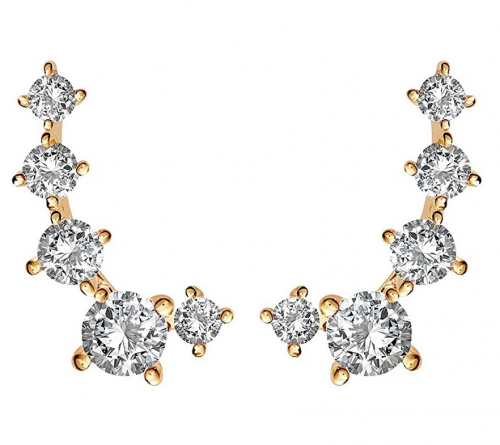 PAVOI 14K White Gold Plated Cubic Zirconia Ear Crawler