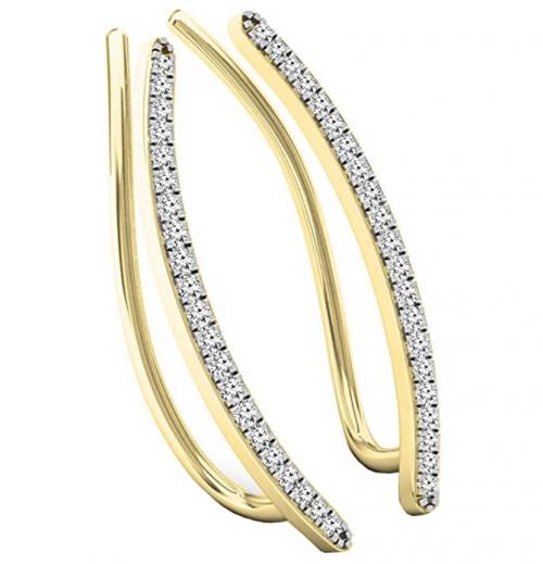 Dazzlingrock Collection 0.16 Carat (ctw) 10K Gold Round White Diamond Ladies Crawler Climber Earrings