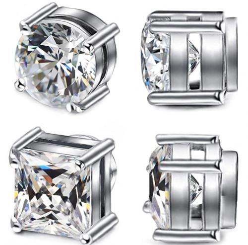 ADAIER 2 Pairs Stainless Steel Magnetic Stud Earrings for Men Women Non-Piercing CZ