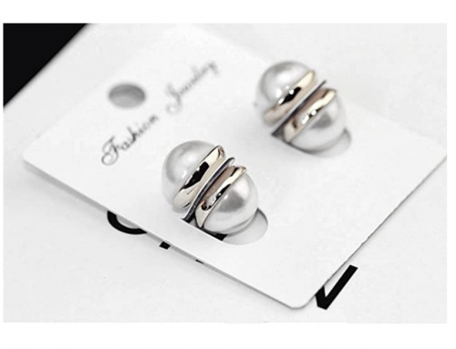 Molike Fashion Magnetic Circle Stud Pearl Earrings Non Piercings Clip 10mm for Women