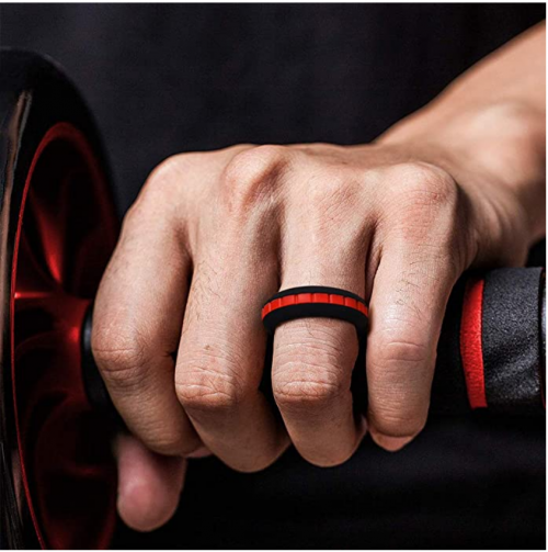 King Will Thin Red Groove Silicone Set Band