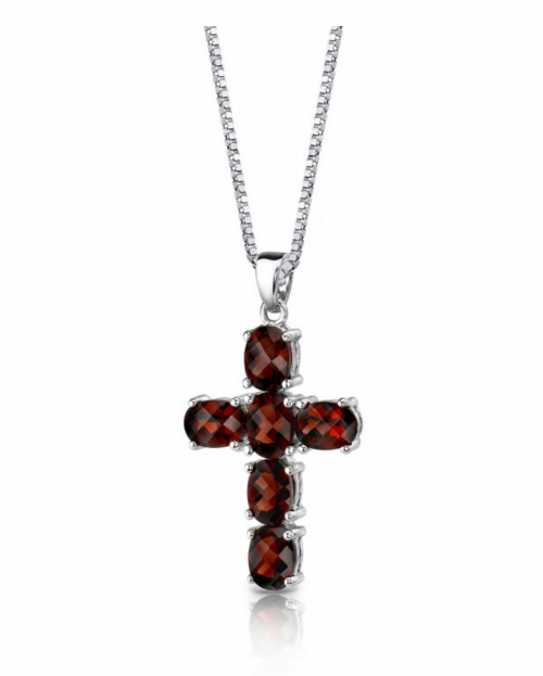Ruby & Oscar Garnet Cross Pendant Necklace