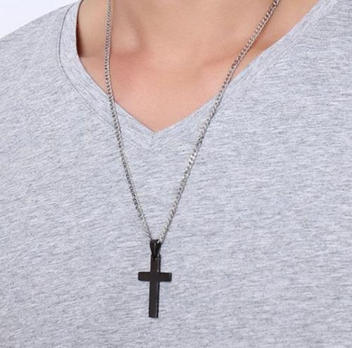 Jeulia Religious Cross Stainless Steel Men's Necklace