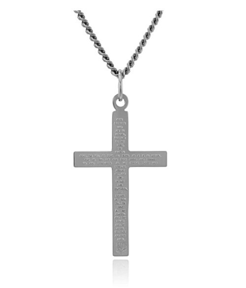 Men's Sterling Silver Solid Polished Cross with Lord's Prayer Inscription and Stainless Steel Chain