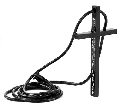 HZMAN Philippians 4:13 Cross Pendant Strength Bible Verse Stainless Steel Necklace
