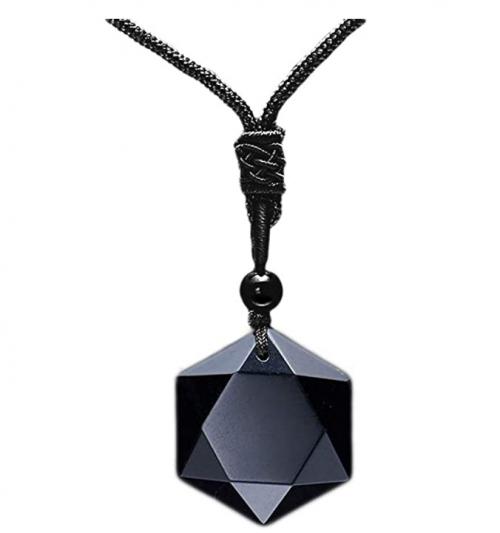 MENGLINA Black Obsidian Hexagram Natural Stone Necklace
