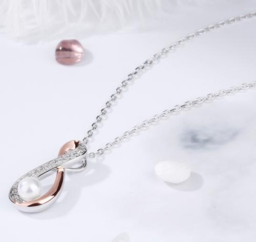Jeulia Infinity Cultured Pearl Necklace