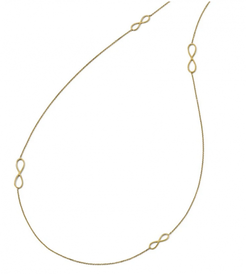 Black Bow Jewelry 14k Yellow Gold Polished Infinity Link & Cable Chain Necklace