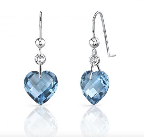 Ruby and Oscar Heart Shaped London Blue Topaz Drop Earrings