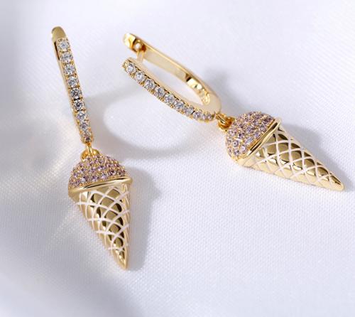 Jeulia Ice Cream Cone Sterling Silver Earrings