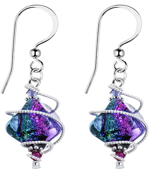 Body Candy Handcrafted 925 Silver Purple Dichroic Drop Dangle Earrings