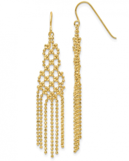 Diamond-cut Beaded Chandelier Earrings in 14k Yellow Gold