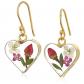 Silver on the Web Pressed-Flower Heart Drop Earrings