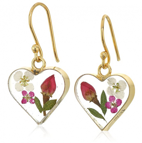 Silver on the Web 14k Gold Over Sterling Silver Pressed-Flower Heart Drop Earrings