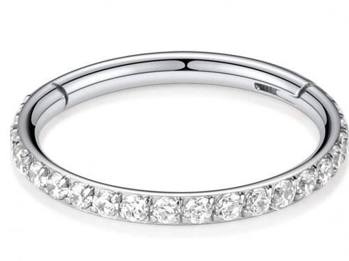 PEAKLINK 16G 316L Stainless Steel Clear CZ Septum Piercing Clicker Ring