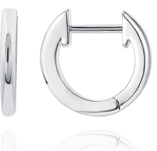 PAVOI 14K White Gold Plated Cuff Earrings Huggie Stud