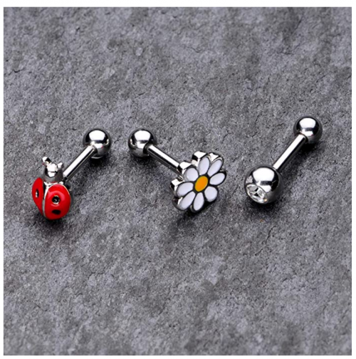 Body Candy 3Pc 16G Women 316L Stainless Steel Ladybug Flower Cartilage Earring Helix Tragus