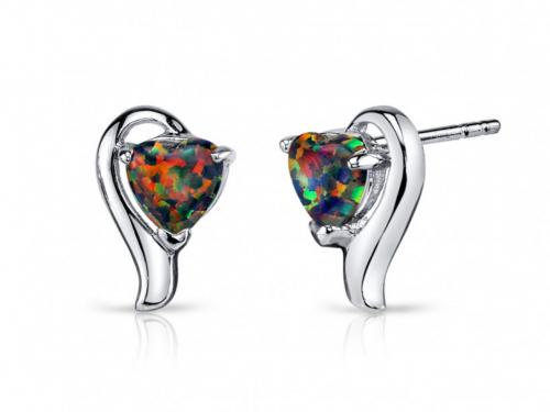 Ruby & Oscar Heart-Shaped Opal Helix Stud Earrings
