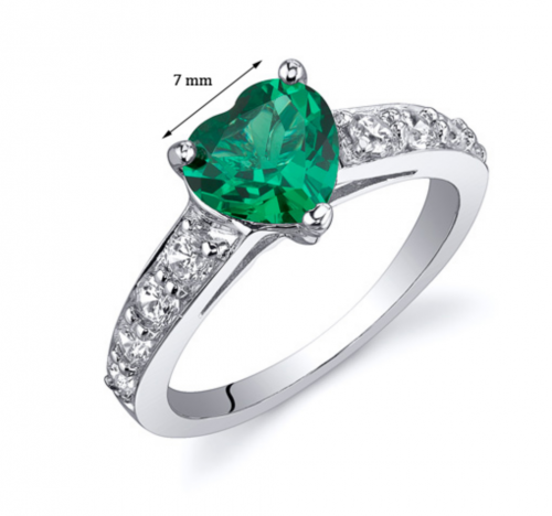 Ruby and Oscar Heart Shaped Emerald & CZ Engagement Ring