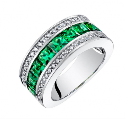 Ruby and Oscar Princess Cut Emerald and CZ Three Band Ring