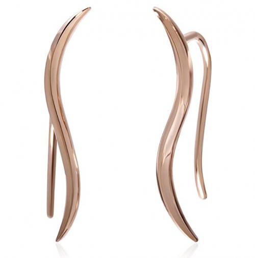 S.Leaf Sterling Silver Ear Crawler Cuff Earrings Minimal Leaf Climber Earrings rose