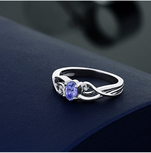 Gem Stone King Tanzanite and White Diamond Ring