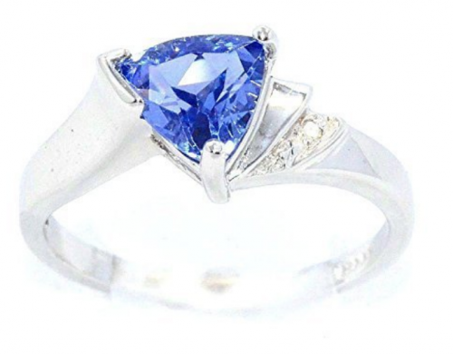 elizabeth jewelry 1.5 Ct CZ Tanzanite & Diamond Trillion Ring .925 Sterling Silver