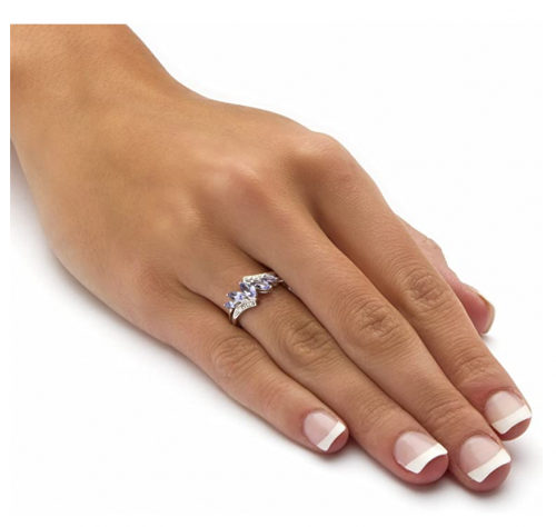 Palm Beach Platinum over Sterling Silver Marquise Cut Genuine Tanzanite Bypass Ring