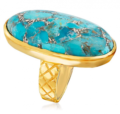 Ross-Simons Mosaic Turquoise Ring in 18kt Gold Over Sterling