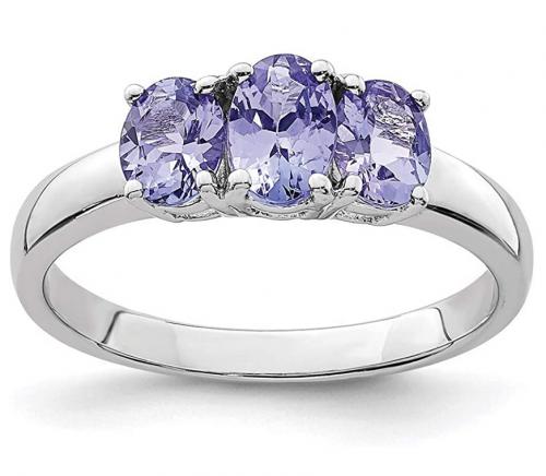 Ice Carats 3 Stone Blue Tanzanite Ring