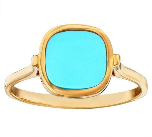 Ross-Simons Italian Turquoise Ring in 14kt Yellow Gold