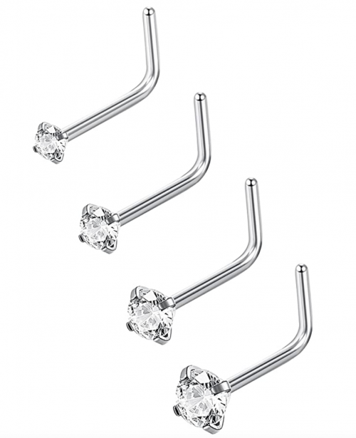 Jstyle 20G 4-15 Pcs Stainless Steel Nose Rings Studs L-Shape Piercing Body Jewelry