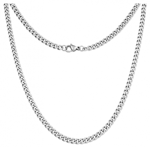 Silvadore 4mm Curb Mens Necklace - Silver Chain Cuban Stainless Steel Jewelry