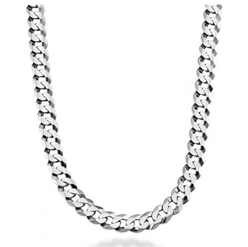 Miabella Solid 925 Sterling Silver Italian 9mm Solid Diamond-Cut Cuban Link Curb Chain Necklace
