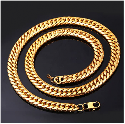U7 Men Chunky Necklace 18KGP Stamp Hip Hop Jewelry 9MM Wide Gold Plated Thick Curb Chain - 18 Inches