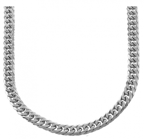 BLING BLING NY Solid Silver Finish Stainless Steel 12mm Thick Miami Cuban Link Chain Necklace 24''