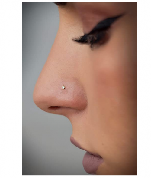 Masséte Store 14k Gold Nose Ring Stud Piercing Ball or Gem Cubic CZ