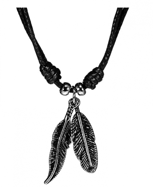 BlueRica Two Feather Pendants on Adjustable Black Rope Cord Necklace
