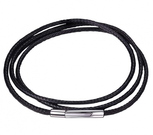 U7 Black/Brown Leather Necklace