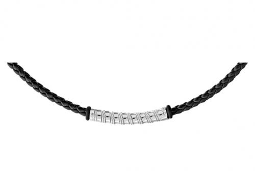 Quadri - 925 Pure Sterling Silver Italian Premium Quality Mens Necklace with Vegan Leather