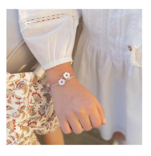 Maisonette Pink Flower Evil Eye Bracelet