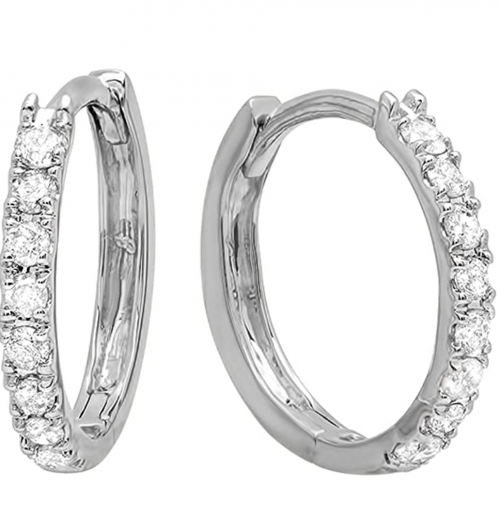 Dazzlingrock Collection 0.25 Carat Diamond Huggies
