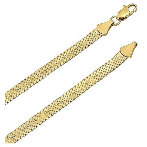 The Bling Factory 14k Gold Plated Herringbone Chain