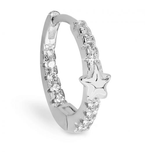 BODIFINE Cubic Zirconia Star Sterling Silver-Tone Ear Cartilage Hoop