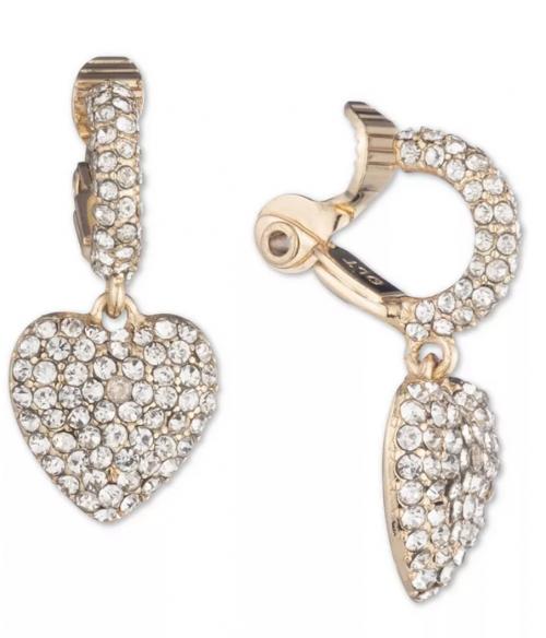 Anne Klein Gold-Tone Pavé Heart Clip-On Drop Earrings