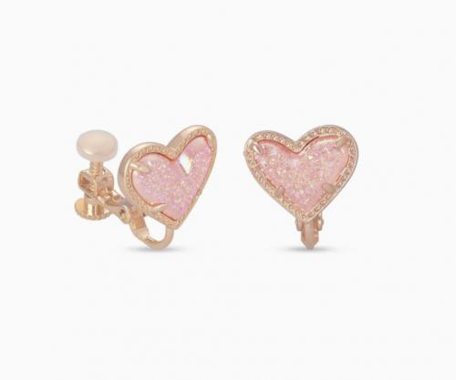 Kendra Scott Ari Heart Rose Gold Stud Clip On Earrings In Light Pink Drusy