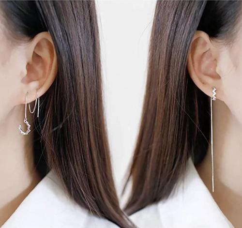 SLUYNZ 925 Sterling Silver Wave Cuff Earrings