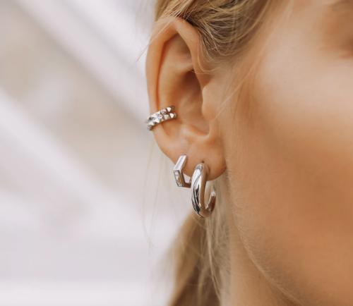 Missoma Silver Pyramid Ear Cuff