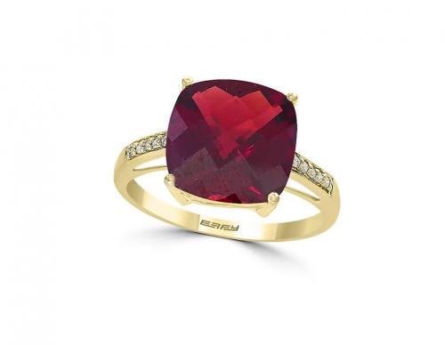 Effy January Garnet & Diamond Yellow Gold Ring