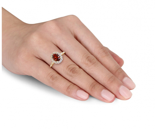 Sonatina 14k Yellow Gold Garnet, White Topaz, and Diamond Ring